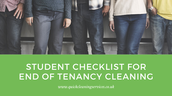 Student checklist for end of tenancy cleaning