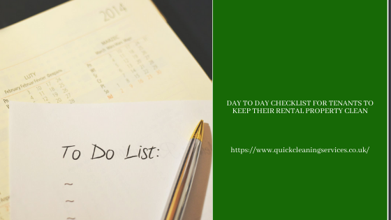 Day to day checklist for tenants to keep their rental property clean