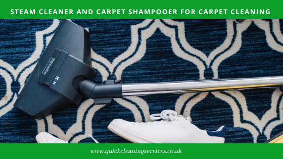 Steam cleaner and carpet shampooer for carpet cleaning
